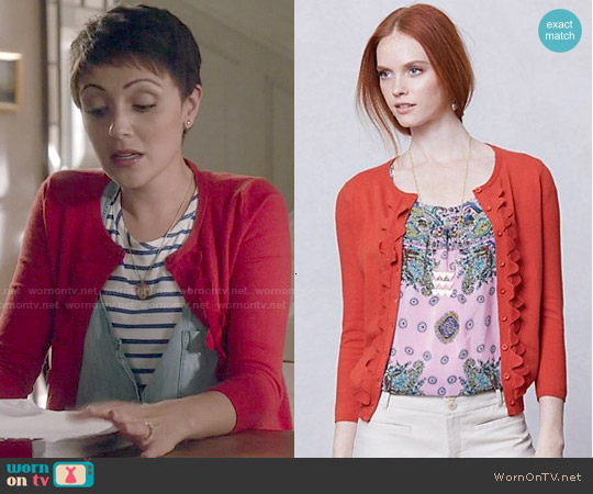Anthropologie Shoreline Scallop Cardigan worn by April Carver on Chasing Life