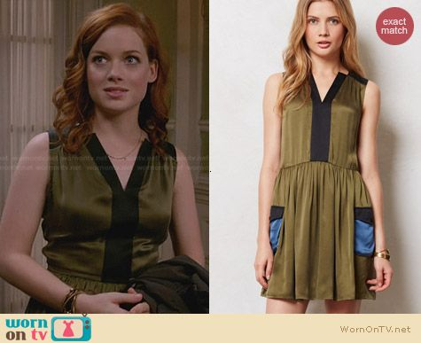 Anthropologie Silk Cargo Dress worn by Jane Levy on Suburgatory