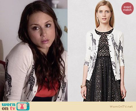 Anthropologie Sketched Savannah Cardigan worn by Troian Bellisario on PLL