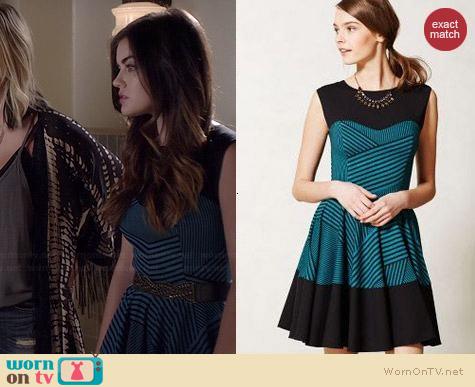 Anthropologie Stripe Swing Dress worn by Lucy Hale on PLL