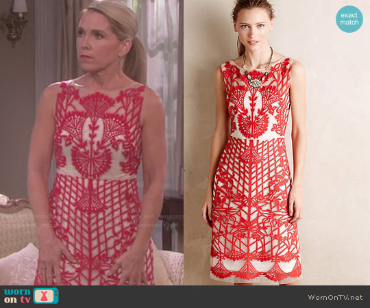 Anthropologie Sugared Ruby Sheath worn by Melissa Reeves on Days of our Lives