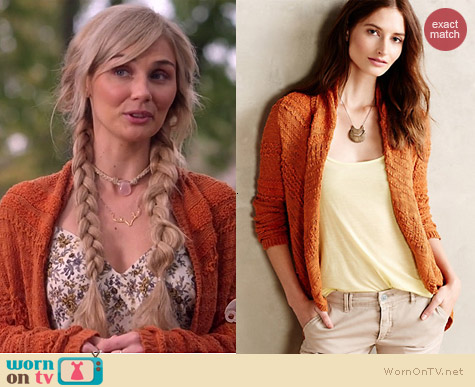 Anthropologie Switch Stitch Cardigan in Orange worn by Clare Bowen on Nashville