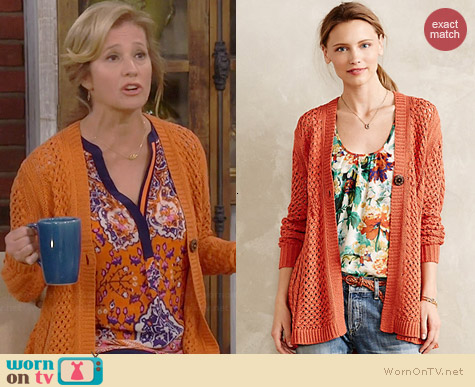 Anthropologie Talmage Cardigan worn by Nancy Travis on Last Man Standing