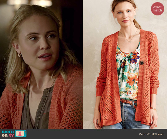 Anthropologie Talmage Cardigan in Orange worn by Leah Pipes on The Originals