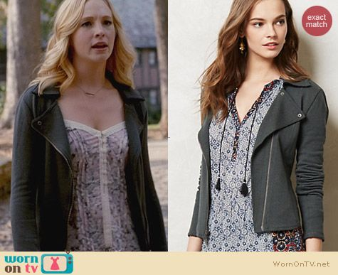 Anthropologie Terry Moto Jacket worn by Candice Accola on The Vampire Diaries