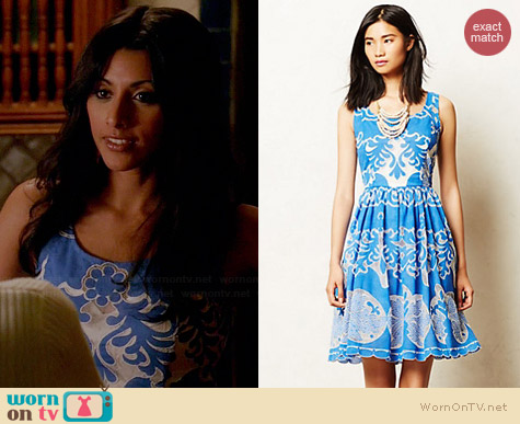 Tracy Reese Azure Lace Dress worn by Reshma Shetty on Royal Pains