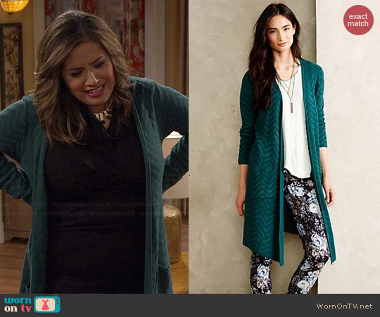 Anthropologie Vergennes Chevron Cardigan worn by Cristela Alonzo on Cristela