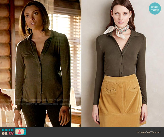 Anthropologie Westwood Button Down worn by Kat Graham on The Vampire Diaries