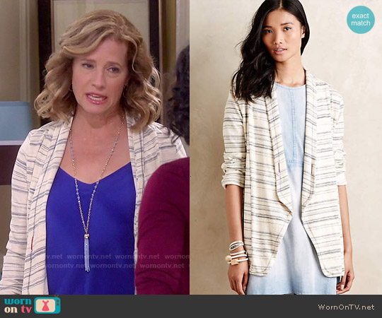 Anthropologie Wide-Ruled Knit Blazer worn by Nancy Travis on Last Man Standing