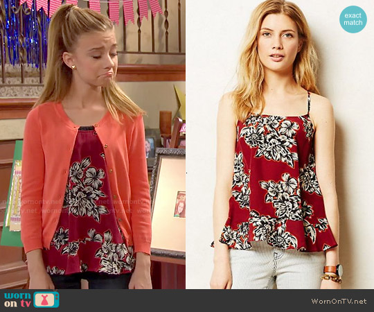 Anthropologie Zaballa Tank in Red worn by G. Hannelius on Dog with a Blog