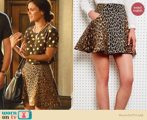 Antipodium intersection skirt in animal worn by Rachel Bilson on Hart of Dixie