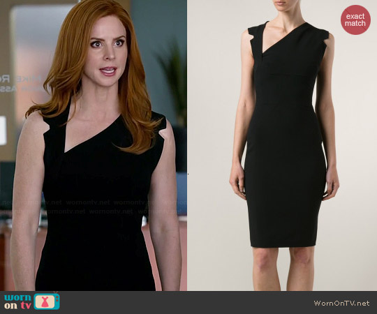 Antonio Berardi Asymmetric Neckline Dress worn by Sarah Rafferty on Suits