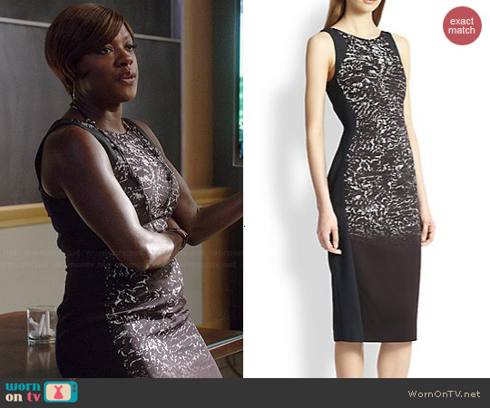 Antonio Berardi Blocked Metallic Print Dress worn by Viola Davis on HTGAWM