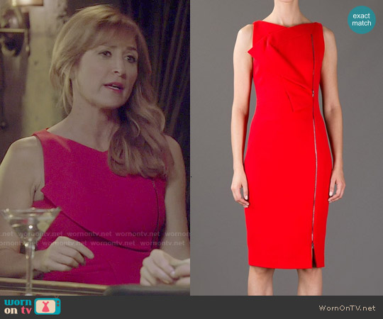 Antonio Berardi Envelope Fold Front Fitted Dress worn by Sasha Alexander on Rizzoli & Isles