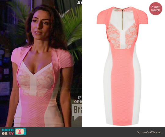 Antonio Berardi Lace Panel Dress worn by Necar Zadegan on GG2D