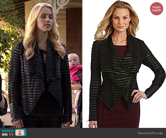 Antonio Melani Aimee Textured Leather Jacket worn by Claire Holt on The Originals