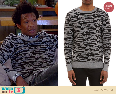APC Zebra Jacquard Sweater worn by Seaton Smith on Mulaney