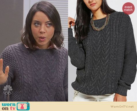 April Ludgate Fashion: Urban Outfitters BDG Fall for Cable Knit Sweater worn by Aubrey Plaza