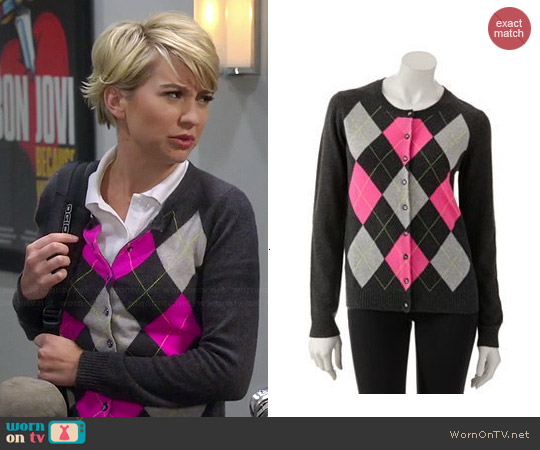 Apt. 9 Cashmere Argyle Cardigan worn by Chelsea Kane on Baby Daddy