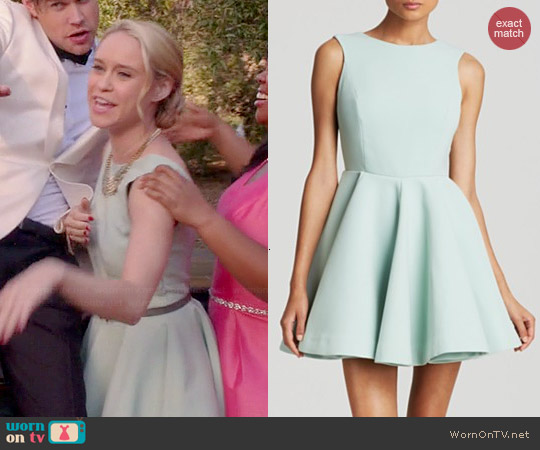 AQ/AQ Koko Deep V-back Dress in Duck Egg Cream worn by Becca Tobin on Glee
