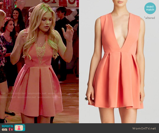 AQ/AQ Vicious Deep V-neck Mini Fit & Flare Dress worn by Olivia Holt on IDDI