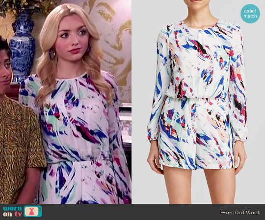 Aqua Brushstroke Crepe Long Sleeve worn by Peyton List on Jessie