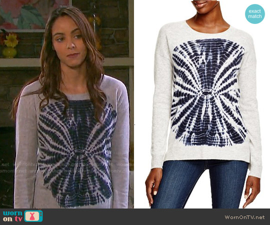 Aqua Cashmere Circle Tie Dye Sweater worn by Vivian Jovanni on Days of our Lives