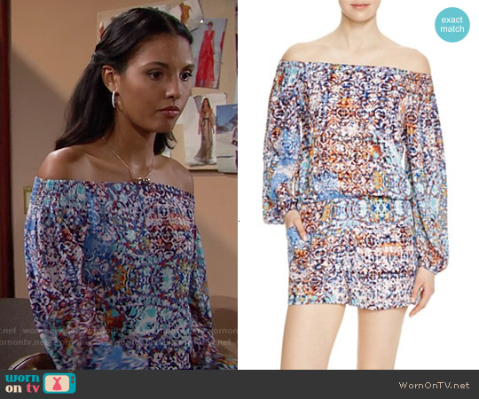 Aqua Moroccan Print Off-The-Shoulder Romper worn by Felisha Cooper on The Bold & the Beautiful