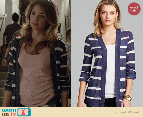 Aqua Open Front Loose Knit Striped Cardigan with Pockets worn by Shelley Hennig on Teen Wolf