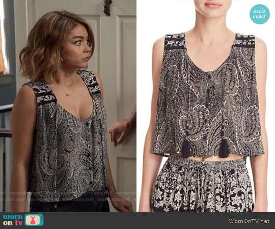 Aqua Paisley Button Front Tank worn by Sarah Hyland on Modern Family