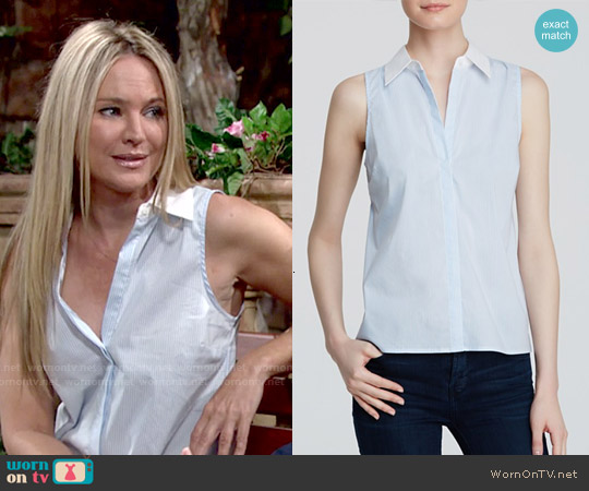 Aqua Striped Sleeveless Button Down Shirt worn by Sharon Case on The Young & the Restless