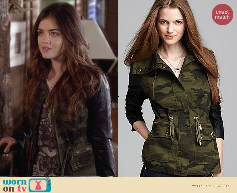Aqua Army Jacket with Faux Leather Sleeves worn by Lucy Hale on PLL