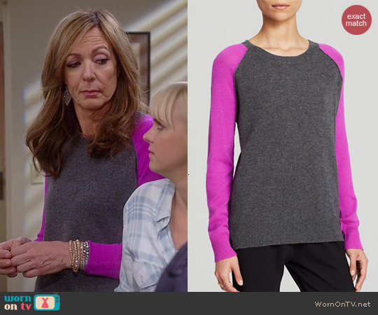 Aqua Baseball Cashmere Sweater in Heather Grey / Orchid worn by Allison Janney on Mom