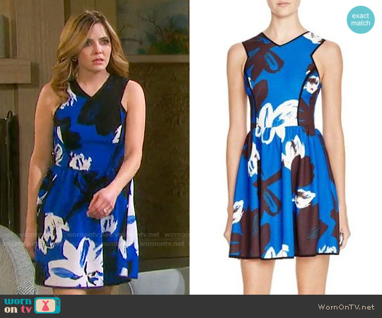 Aqua Big Floral Dress worn by Jen Lilley on Days of our Lives