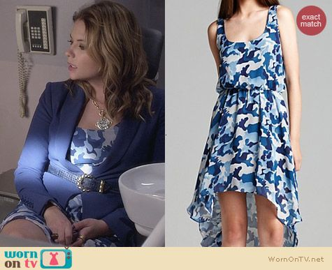 Aqua Camo High Low Dress worn by Ashley Benson on PLL