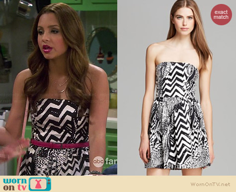 Aqua Brush Stroke Print Strapless Dress worn by Aimee Carrero on Young & Hungry