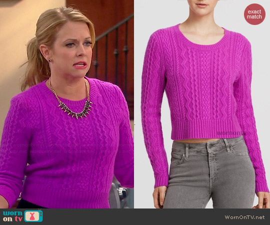 Aqua Cable Cashmere Sweater worn by Melissa Joan Hart on Melissa & Joey