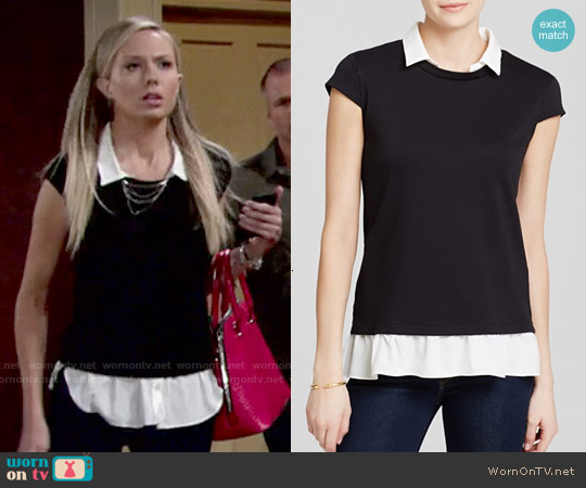 Aqua Cap Sleeve Twofer Top worn by Melissa Ordway on The Young & the Restless