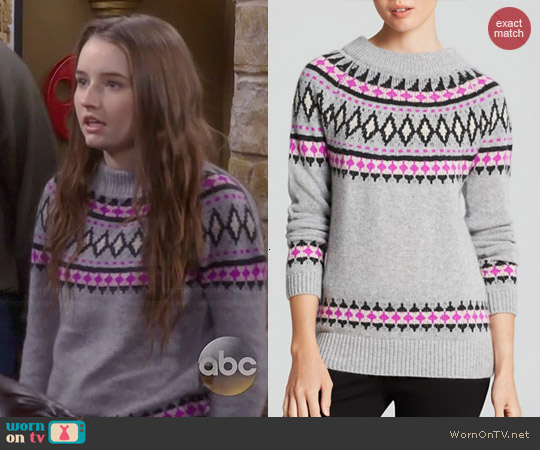 Aqua Fair Isle Zip Shoulder Cashmere Sweater worn by Kaitlyn Dever on Last Man Standing