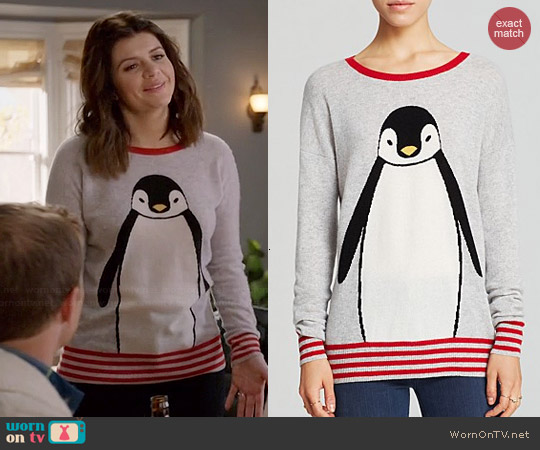 Aqua Cashmere Penguin Sweater worn by Casey Wilson on Marry Me