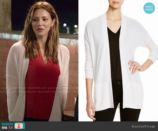 Aqua Cashmere Rib Trim Open Cardigan worn by Katharine McPhee on Scorpion
