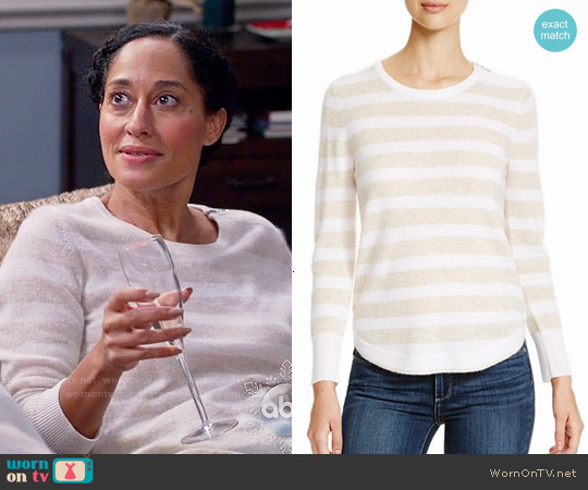 Aqua Cashmere Stripe Zip Shoulder Sweater in Oatmeal worn by Tracee Ellis Ross on Blackish