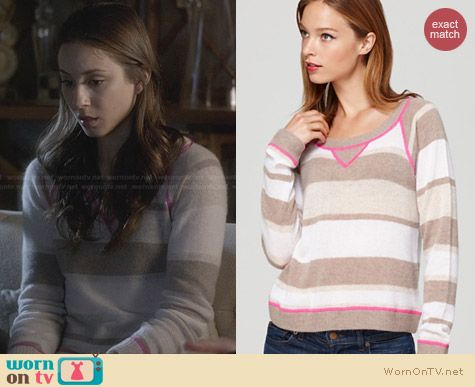 Aqua Cashmere Striped Sweatshirt worn by Troian Bellisario on PLL