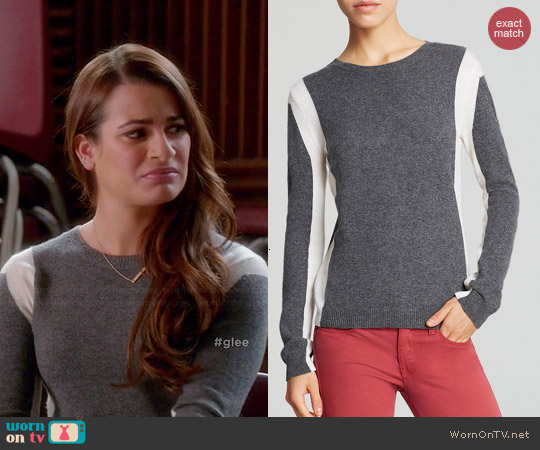 Aqua Vertical Colorblock Cashmere Sweater worn by Lea Michele on Glee