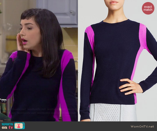 Aqua Cashmere Vertical Colorblock Sweater in Peacoat/Orchid worn by Molly Ephraim on Last Man Standing