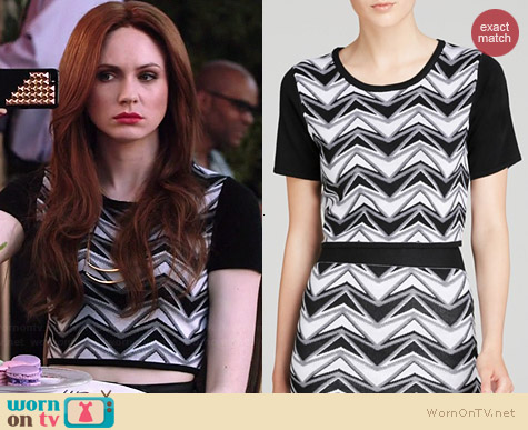 Aqua Chevron Color Block Crop Top worn by Karen Gillan on Selfie