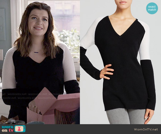 Aqua Colorblock V-neck Cashmere Sweater worn by Casey Wilson on Marry Me