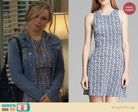 Aqua Cross Back Tribal Print Dress worn by Amanda Fuller on Last Man Standing