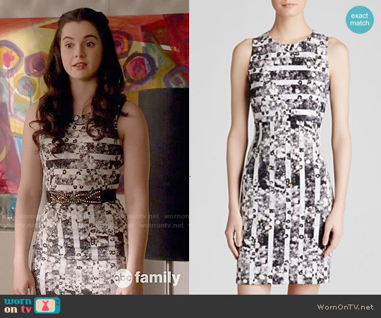 Aqua Daisy Stripe Scuba Bodycon Dress worn by Vanessa Marano on Switched at Birth