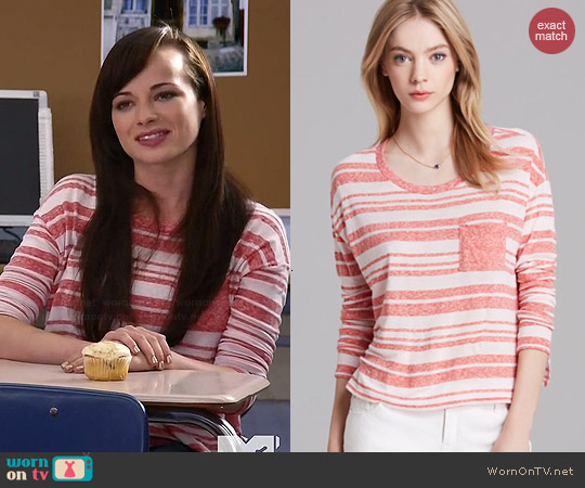 Aqua Drop Shoulder Stripe Tee in Coral worn by Ashley Rickards on Awkward